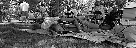Norman Robinson and others sleeping at the Robinson reunion<br />