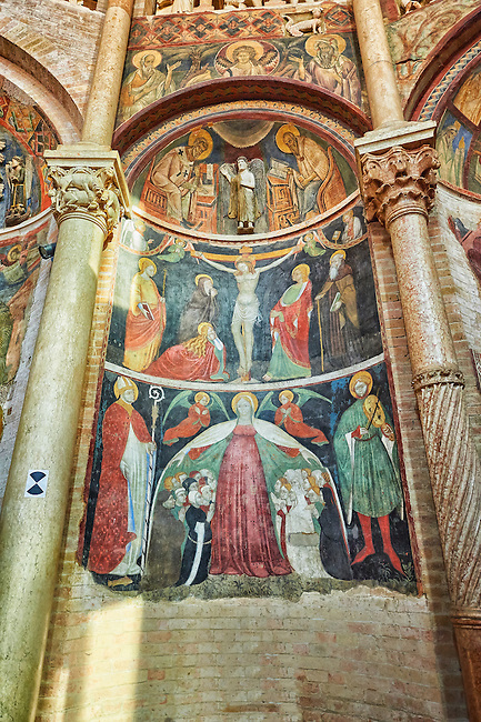 Frescoes on the interior of the Romanesque Baptistery of Parma, circa 1196, (Battistero di Parma), Italy