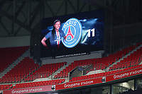 20191116 – LYON ,  FRANCE ; Paris St Germain's Kadidiatou Diani's image on the screen is pictured before the women's soccer game between Olympique Lyonnais and PARIS SG on the 9th matchday of the French Women's first league , D1 of the 2019-2020 season , Saturday 16 th November 2019 at the Groupama stadium in Lyon , France . PHOTO SPORTPIX.BE   SEVIL OKTEM