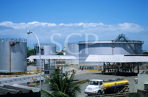 Joao Pessoa, Brazil. Petrol storage distribution depot with the docks behind.