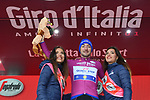 Elia Viviani (ITA) Quick-Step Floors retains the Maglia Ciclamino on the podium at the end of Stage 6 of the 2018 Giro d'Italia, running 169km from Caltanissetta to the Etna (Osservatorio Astrofisico), the first mountain top finish of the race finishing on the Osservatorio Astrofisico climb for the first time in race's history Sicily, Italy. 10th May 2018.<br /> Picture: LaPresse/Gian Mattia D'Alberto | Cyclefile<br /> <br /> <br /> All photos usage must carry mandatory copyright credit (&copy; Cyclefile | LaPresse/Gian Mattia D'Alberto)