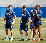 19.04.2019 Rangers training: James Tavernier looks across at Alfredo Morelos