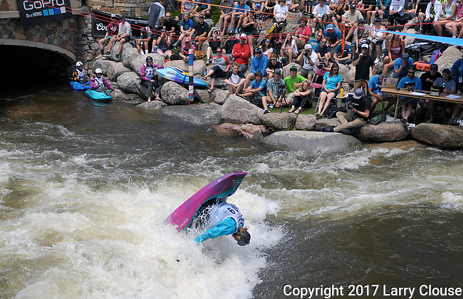 June 9, 2017 - Vail, Colorado, U.S. - New Zealand's, Martina Wegman, competes before a huge crowd in the Freestyle Kayak competition during the GoPro Mountain Games, Vail, Colorado.  Adventure athletes from around the world meet in Vail, Colorado, June 8-11, for America's largest celebration of mountain sports, music, and lifestyle.