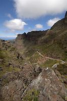 Winding mountain road, Masca. Tenerife, Canary Islands. April 07