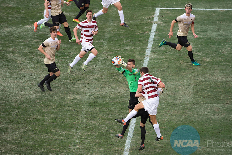 HOUSTON, TX - DECEMBER 11:  Andreu Cases Mundet (1) of Wake Forest University grabs a ball out of the air during the Division I Men's Soccer Championship held at the BBVA Compass Stadium on December 11, 2016 in Houston, Texas.  Stanford defeated Wake Forest 1-0 in a penalty shootout for the national title. (Photo by Justin Tafoya/NCAA Photos via Getty Images)