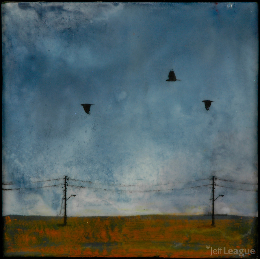 Encaustic painting of crows in blue sky with photo transfer by Florida artist Jeff League.