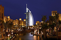 .Dubai, United Arab Emirates. Madinat Jumeirah. Burj al Arab Hotel, .Mina A'Salam Hotel and Convention Centre. Souk. Evening..
