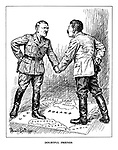 Doubtful Friends. (Hitler shakes hands with Stalin ontop of a map of Poland each with a hand on a gun behind their backs)