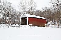 63904-03306 Beeson Covered Bridge at Billie Creek Village in winter, Rockville, IN