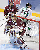 Mike Brennan, Cory Schneider, Matt Watkins - The Boston College Eagles defeated the University of North Dakota Fighting Sioux 6-5 on Thursday, April 6, 2006, in the 2006 Frozen Four afternoon Semi-Final at the Bradley Center in Milwaukee, Wisconsin.