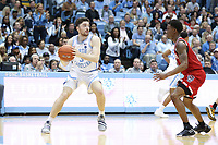 CHAPEL HILL, NC - FEBRUARY 25: Andrew Platek #3 of the University of North Carolina holds the ball during a game between NC State and North Carolina at Dean E. Smith Center on February 25, 2020 in Chapel Hill, North Carolina.