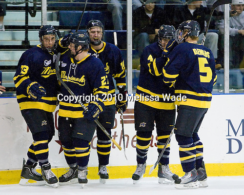 Mike Collins (Merrimack - 13), Rhett Bly (Merrimack - 27), ?, Jordan Heywood (Merrimack - 4), Simon Demers (Merrimack - 5) - The Merrimack College Warriors defeated the visiting Sweden Under 20 team 4-1 on Tuesday, November 2, 2010, at Lawler Arena in North Andover, Massachusetts.