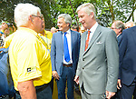 King Philippe of Belgium gives the start of the 4th stage of the Tour de France ( Seraing - Cambrai ) Seraing , July 7, 2015, Belgium<br /> Pics: King Philippe and Raymond Poulidor