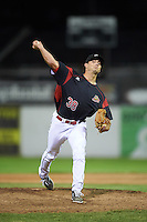 Batavia Muckdogs relief pitcher Sam Perez (38) delivers a pitch during a game against the State College Spikes on June 24, 2016 at Dwyer Stadium in Batavia, New York.  State College defeated Batavia 10-3.  (Mike Janes/Four Seam Images)