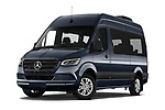 Stock pictures of low aggressive front three quarter view of 2019 Mercedes Benz Sprinter-Tourer Design-Line 4 Door Passanger Van Low Aggressive