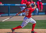 28 February 2016: Washington Nationals infielder Chris Bostick in action during an inter-squad pre-season Spring Training game at Space Coast Stadium in Viera, Florida. Mandatory Credit: Ed Wolfstein Photo *** RAW (NEF) Image File Available ***