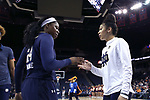 CHARLOTTESVILLE, VA - FEBRUARY 15: Notre Dame's Arike Ogunbowale (24) and Mychal Johnson (right). The University of Virginia Cavaliers hosted the University of Notre Dame Fighting Irish on February 15, 2018 at John Paul Jones Arena in Charlottesville, VA in a Division I women's college basketball game. Notre Dame won the game 83-69.