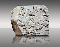 Marble Releif Sculptures from the north frieze around the Parthenon Block XLIV 122-123 . From the Parthenon of the Acropolis Athens. A British Museum Exhibit known as The Elgin Marbles