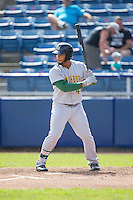 Bobby Bradley (44) of the Lynchburg Hillcats at bat against the Salem Red Sox at LewisGale Field at Salem Memorial Baseball Stadium on August 7, 2016 in Salem, Virginia.  The Red Sox defeated the Hillcats 11-2.  (Brian Westerholt/Four Seam Images)