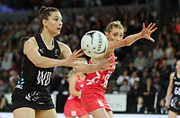 15.09.2018 Silver Ferns Karin Burger in action during Silver Ferns v England netball test match at Spark Arena in Auckland. Mandatory Photo Credit ©Michael Bradley.