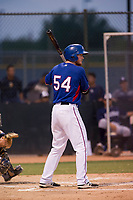 AZL Rangers third baseman Justin Jacobs (54) bats against the AZL Padres 2 on August 2, 2017 at the Texas Rangers Spring Training Complex in Surprise, Arizona. Padres 2 defeated the Rangers 6-3. (Zachary Lucy/Four Seam Images)