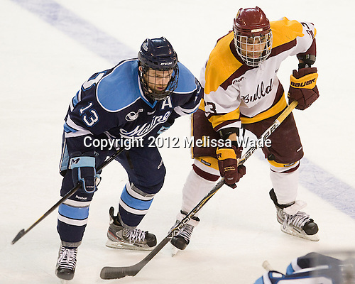 Spencer Abbott (Maine - 13), J.T. Brown (Duluth - 23) - The University of Minnesota Duluth Bulldogs defeated the University of Maine Black Bears 5-2 in their NCAA Northeast semifinal on Saturday, March 24, 2012, at the DCU Center in Worcester, Massachusetts.