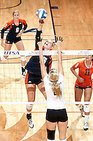 SAN ANTONIO, TX - SEPTEMBER 6, 2013: The Texas A&M University Aggies versus the University of Texas at San Antonio Roadrunners Volleyball at the UTSA Convocation Center. (Photo by Jeff Huehn)