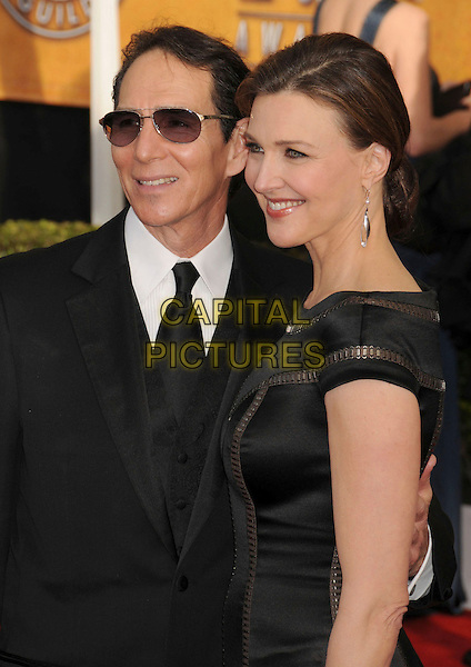 TOM HENRI & BRENDA STRONG .14th Annual Screen Actors Guild Awards held at the Shrine Auditorium, Los Angeles, California, USA..January 27th, 2008.SAG red carpet arrivals half length black dress suit sunglasses shades married husband wife .CAP/ADM/BP.©Byron Purvis/AdMedia/Capital Pictures. *** Local Caption *** .