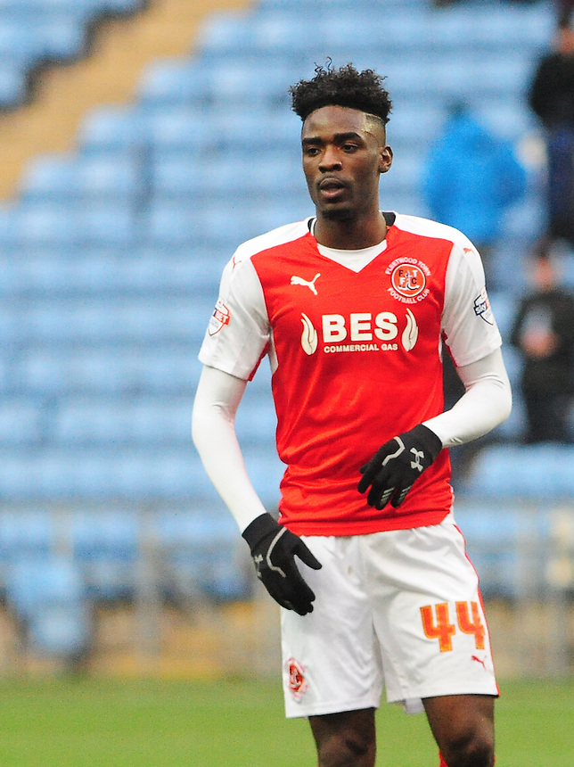 Fleetwood Town's Devante Cole<br /> <br /> Photographer Andrew Vaughan/CameraSport<br /> <br /> Football - The Football League Sky Bet League One - Coventry City v Fleetwood Town - Saturday 27th February 2016 - Ricoh Stadium - Coventry   <br /> <br /> &copy; CameraSport - 43 Linden Ave. Countesthorpe. Leicester. England. LE8 5PG - Tel: +44 (0) 116 277 4147 - admin@camerasport.com - www.camerasport.com