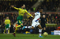 1st January 2020; Carrow Road, Norwich, Norfolk, England, English Premier League Football, Norwich versus Crystal Palace; Jordan Ayew of Crystal Palace takes on Mario Vrancic of Norwich City - Strictly Editorial Use Only. No use with unauthorized audio, video, data, fixture lists, club/league logos or 'live' services. Online in-match use limited to 120 images, no video emulation. No use in betting, games or single club/league/player publications