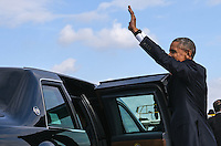 Pictured: US President Barack Obama greets the welcoming party upon his arrival at the Eleftherios Venizelos Airport in Athens, Greece. Tuesday 15 November 2016<br /> Re: US President Barack Obama state visit to Greece