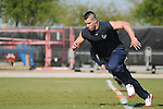 Brian Cushing runs drills at the first day of off-season workouts at the Texans training facility Tuesday March 30,2010. (Dave Rossman Photo)