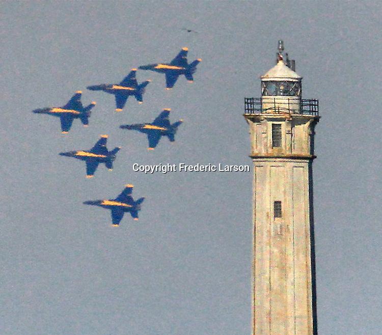 Blue Angels fly over the Bay Area during Fleet Week, 2018. The Navy Blue Angels over the Bay Area during San Francisco's Fleet Week.