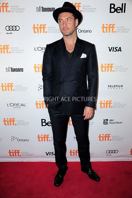 WWW.ACEPIXS.COM<br /> <br /> <br /> September 8, 2013, Toronto, Canada.<br /> <br /> Jude Law arriving at the 'Dom Hemingway' Premiere at the 2013 Toronto International Film Festival at Princess of Wales Theatre in Toronto, Canada on September 8, 2013.<br /> <br /> <br /> <br /> <br /> By Line:  William Bernard/ACE Pictures<br /> <br /> ACE Pictures, Inc<br /> Tel: 646 769 0430<br /> Email: info@acepixs.com