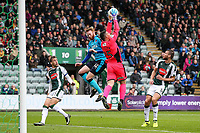 Plymouth Argyle's  Kyle Letheren saves under pressure from Fleetwood Town's Cian Bolger<br /> <br /> Photographer Andrew Kearns/CameraSport<br /> <br /> The EFL Sky Bet League One - Plymouth Argyle v Fleetwood Town - Saturday 7th October 2017 - Home Park - Plymouth<br /> <br /> World Copyright &copy; 2017 CameraSport. All rights reserved. 43 Linden Ave. Countesthorpe. Leicester. England. LE8 5PG - Tel: +44 (0) 116 277 4147 - admin@camerasport.com - www.camerasport.com