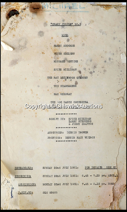 BNPS.co.uk (01202)558833Pic:  ChiswickAuctions/BNPS<br /> <br /> The cast for the radio comedy 'Crazy People' by Spike Milligan.<br /> <br /> Mementos from the career of Spike Milligan including a lost script are being sold by his long-time agent.<br /> <br /> Norma Farnes, 85, worked for the legendary entertainer for four decades and kept hold of several keepsakes, including a script for 'Crazy People', a radio comedy staring Milligan alongside Michael Bentine and Peter Sellers.<br /> <br /> The episode was broadcast in July 1951, with the show going on to a huge hit under a new name 'The Goon Show'.<br /> <br /> No recordings of the episode have survived and it is believed that this the first time a Crazy People script has emerged for auction.