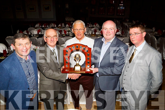 Mike Gaynor who was presented the Hall of Fame at the Causeway GAA club Hurling Medals presentation on Friday night in McHales Stretford End Causeway on Friday night from Chairman Noel O'Connor, L-r: DJ Leahy,Mike Gaynor,Maurice Leahy, Noel O'Connor (chairman) and John Madden (Sectrary).