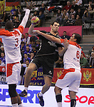 15.01.2013 Granollers, Spain. IHF men's world championship, prelimanary round. Picture show  Mirko Milasevic   in action during game between Tunisia vs Montenegro at Palau d'esports de Granollers