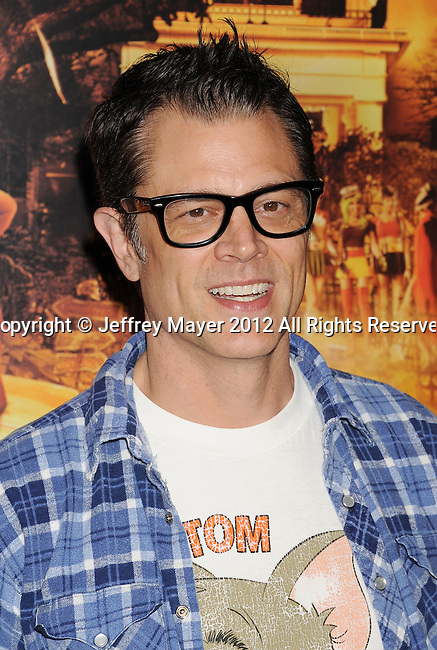 HOLLYWOOD, CA - OCTOBER 25: Johnny Knoxville arrives at the Los Angeles premiere of 'Fun Size' at Paramount Studios on October 25, 2012 in Hollywood, California.