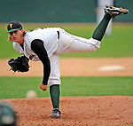 2 May 2008: University of Vermont Catamounts' pitcher and Team Co-Captain Joe Serafin, a Junior from Tariffville, CT, pitches a complete game against the Binghamton University Bearcats at Historic Centennial Field in Burlington, Vermont. The Catamounts defeated the Bearcats 6-2 in the first game of their weekend series...Mandatory Photo Credit: Ed Wolfstein Photo