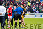 Dan O'Donoghue, East Kerry and Brian Looney, Dr Crokes  before the Kerry County Senior Club Football Championship Final match between East Kerry and Dr. Crokes at Austin Stack Park in Tralee, Kerry.
