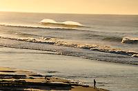 Golden light on breaking waves. Person walking dogs on beach. Gisborne NZ