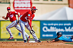 1 March 2019: Washington Nationals infielder Luis Garcia gets a late throw in the 6th inning as Miami Marlins center fielder Magneuris Sierra steals second during a Spring Training game at Roger Dean Stadium in Jupiter, Florida. The Nationals defeated the Marlins 5-4 in Grapefruit League play. Mandatory Credit: Ed Wolfstein Photo *** RAW (NEF) Image File Available ***