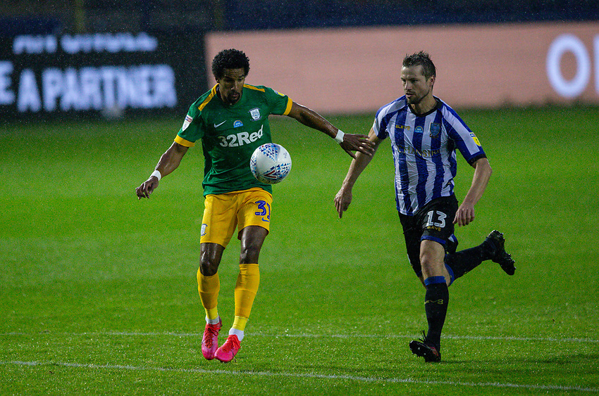 Preston North End's Scott Sinclair gets clear of Sheffield Wednesday's Julian Borner<br /> <br /> Photographer Alex Dodd/CameraSport<br /> <br /> The EFL Sky Bet Championship - Sheffield Wednesday v Preston North End - Wednesday 8th July 2020 - Hillsborough - Sheffield<br /> <br /> World Copyright © 2020 CameraSport. All rights reserved. 43 Linden Ave. Countesthorpe. Leicester. England. LE8 5PG - Tel: +44 (0) 116 277 4147 - admin@camerasport.com - www.camerasport.com