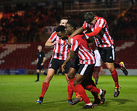 Lincoln City U18's Duncan Idehen, second in from left, celebrates scoring the opening goal <br /> <br /> Photographer Chris Vaughan/CameraSport<br /> <br /> The FA Youth Cup Second Round - Lincoln City U18 v South Shields U18 - Tuesday 13th November 2018 - Sincil Bank - Lincoln<br />  <br /> World Copyright © 2018 CameraSport. All rights reserved. 43 Linden Ave. Countesthorpe. Leicester. England. LE8 5PG - Tel: +44 (0) 116 277 4147 - admin@camerasport.com - www.camerasport.com