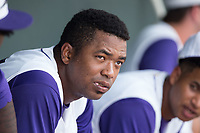 Eloy Jimenez (27) of the Winston-Salem Dash sits in the dugout during the game against the Salem Red Sox at BB&T Ballpark on July 23, 2017 in Winston-Salem, North Carolina.  The Dash defeated the Red Sox 11-10 in 11 innings.  (Brian Westerholt/Four Seam Images)