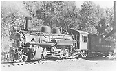 3/4 view of K-28 #470 taking water, maybe at Gunnison.<br /> D&amp;RGW  Gunnison ?, CO
