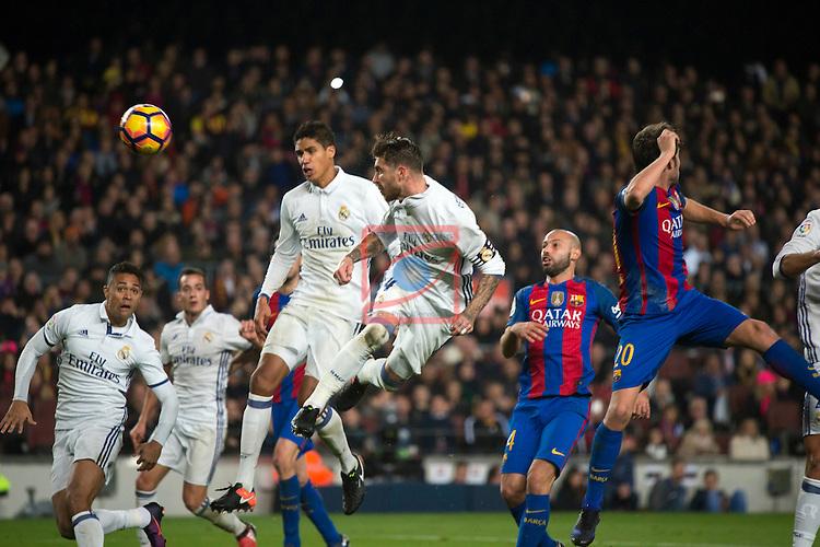 League Santander 2016/2017. Game: 14.<br /> FC Barcelona vs Real Madrid: 1-1.<br /> 1-1: Sergio Ramos.