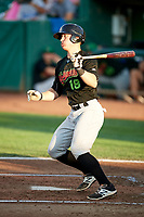 Nate Nolan (18) of the Great Falls Voyagers bats against the Ogden Raptors at Lindquist Field on August 16, 2017 in Ogden, Utah. The Voyagers defeated the Raptors 11-6. (Stephen Smith/Four Seam Images)