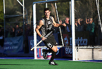NZ's Joel Baker turns after scoring the second goal during the international hockey match between the New Zealand Black Sticks and Malaysia at Fitzherbert Park, Palmerston North, New Zealand on Sunday, 9 August 2009. Photo: Dave Lintott / lintottphoto.co.nz